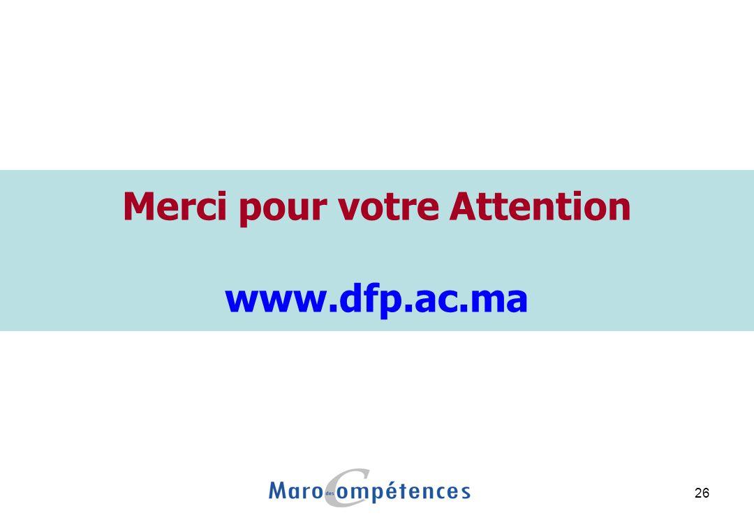 26 Merci pour votre Attention www.dfp.ac.ma