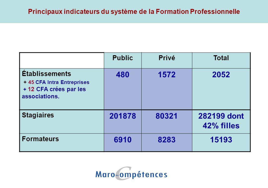 Principaux indicateurs du système de la Formation Professionnelle PublicPrivéTotal Établissements + 45 CFA Intra Entreprises + 12 CFA crées par les as