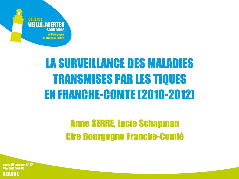 Le contexte de létude Contexte favorable aux zoonoses dans le quart Nord-Est de la France En Franche-Comté : - nombreux massifs forestiers et animaux sauvages (réservoir) - de 3,3 à 16,7% de professionnels de la forêt séropositifs pour la borréliose de Lyme et jusquà 3,3% pour lencéphalite à tiques (étude de séroprévalence, 2002-03) Incidence maladie de Lyme estimée élevée en Alsace et en Rhône-Alpes (01-42-74)