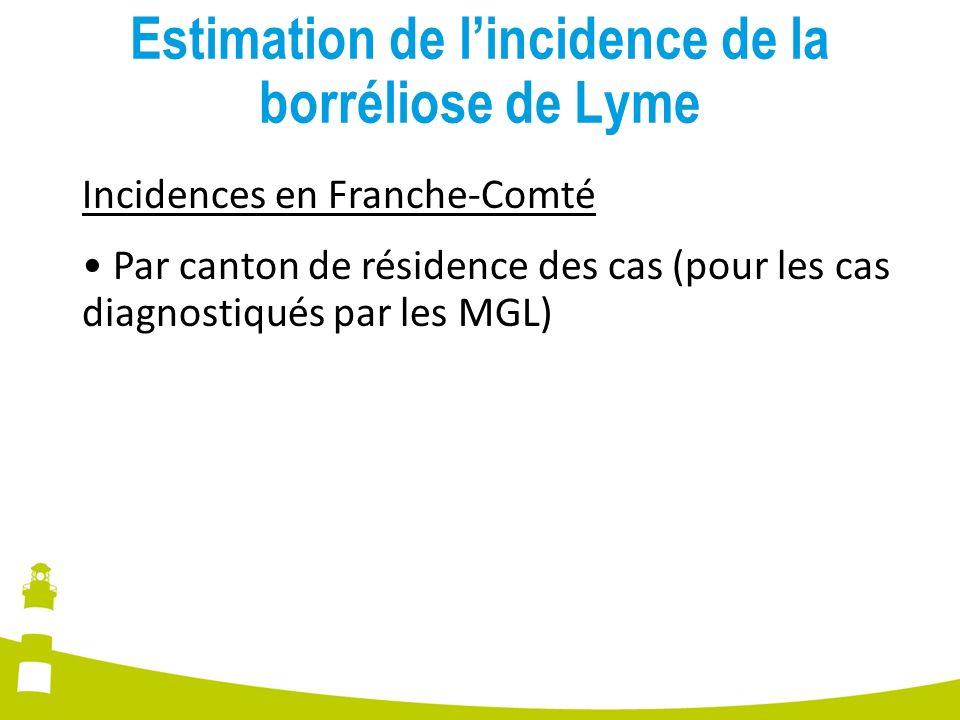 Estimation de lincidence de la borréliose de Lyme Incidences en Franche-Comté Par canton de résidence des cas (pour les cas diagnostiqués par les MGL)