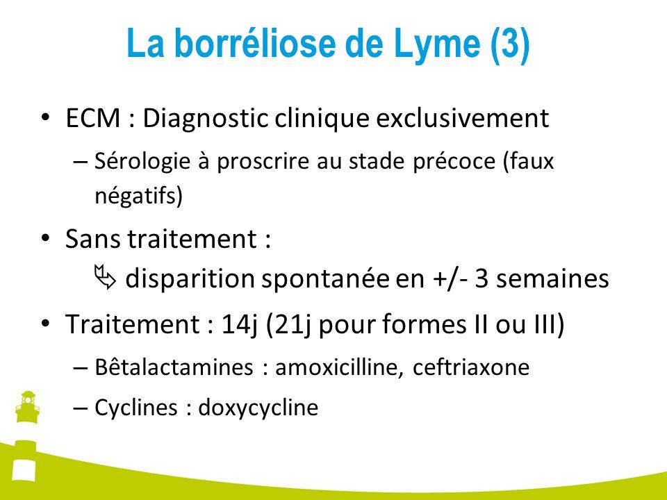 La borréliose de Lyme (3) ECM : Diagnostic clinique exclusivement – Sérologie à proscrire au stade précoce (faux négatifs) Sans traitement : dispariti