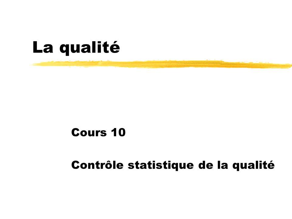 La qualité Cours 10 Contrôle statistique de la qualité
