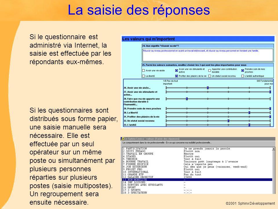 ©2001 Sphinx Développement La saisie des réponses Si le questionnaire est administré via Internet, la saisie est effectuée par les répondants eux-même