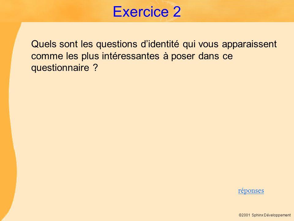 ©2001 Sphinx Développement Exercice 2 Quels sont les questions didentité qui vous apparaissent comme les plus intéressantes à poser dans ce questionna