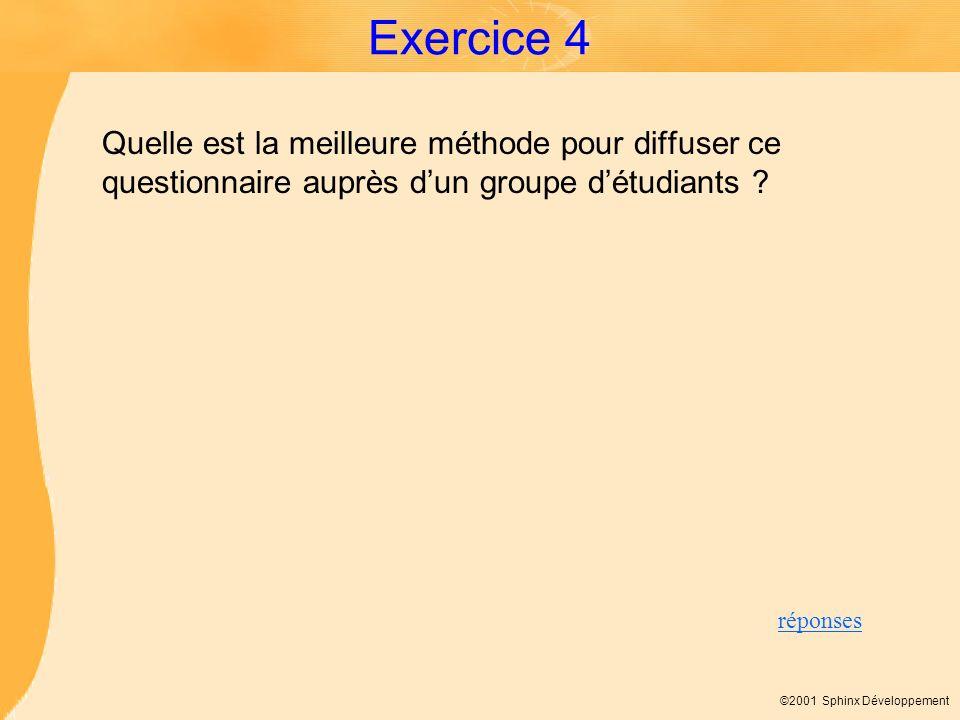 ©2001 Sphinx Développement Exercice 4 Quelle est la meilleure méthode pour diffuser ce questionnaire auprès dun groupe détudiants ? réponses