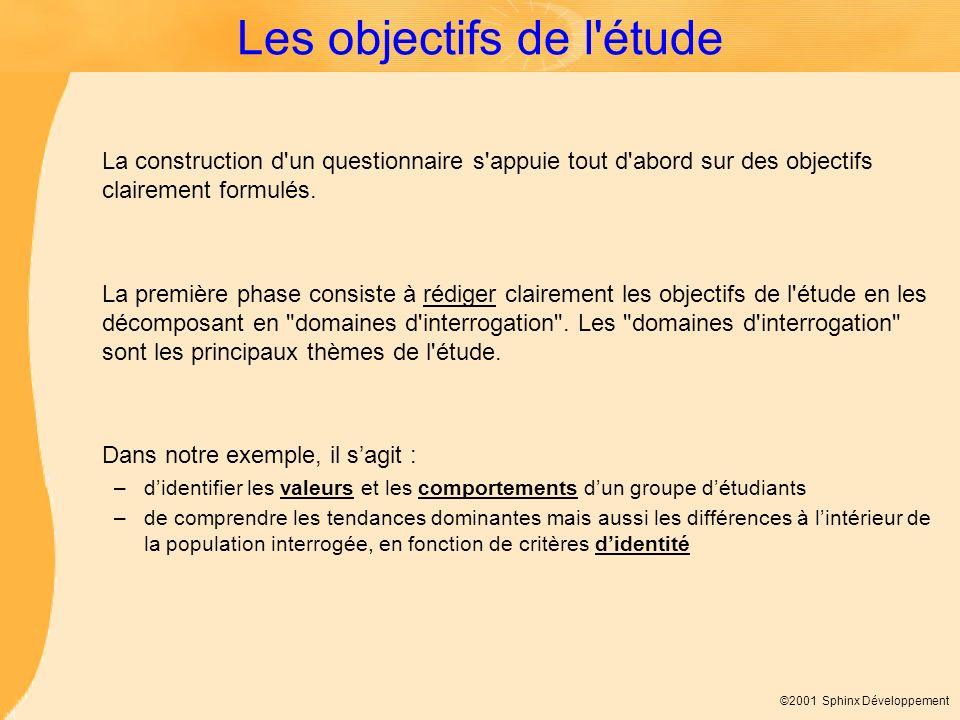 ©2001 Sphinx Développement Les objectifs de l'étude La construction d'un questionnaire s'appuie tout d'abord sur des objectifs clairement formulés. La