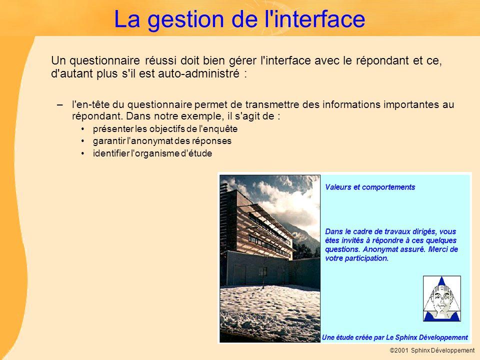 ©2001 Sphinx Développement La gestion de l'interface Un questionnaire réussi doit bien gérer l'interface avec le répondant et ce, d'autant plus s'il e