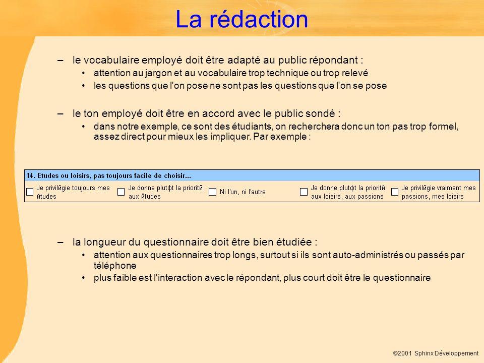 ©2001 Sphinx Développement La rédaction –le vocabulaire employé doit être adapté au public répondant : attention au jargon et au vocabulaire trop tech