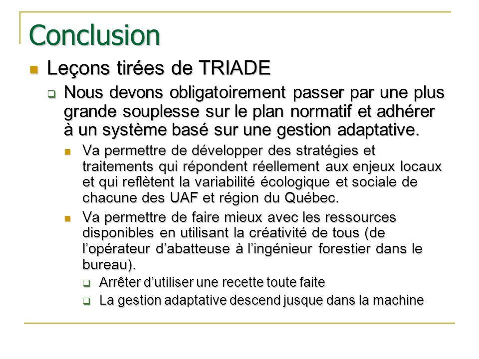Conclusion Leçons tirées de TRIADE Leçons tirées de TRIADE Nous devons obligatoirement passer par une plus grande souplesse sur le plan normatif et ad