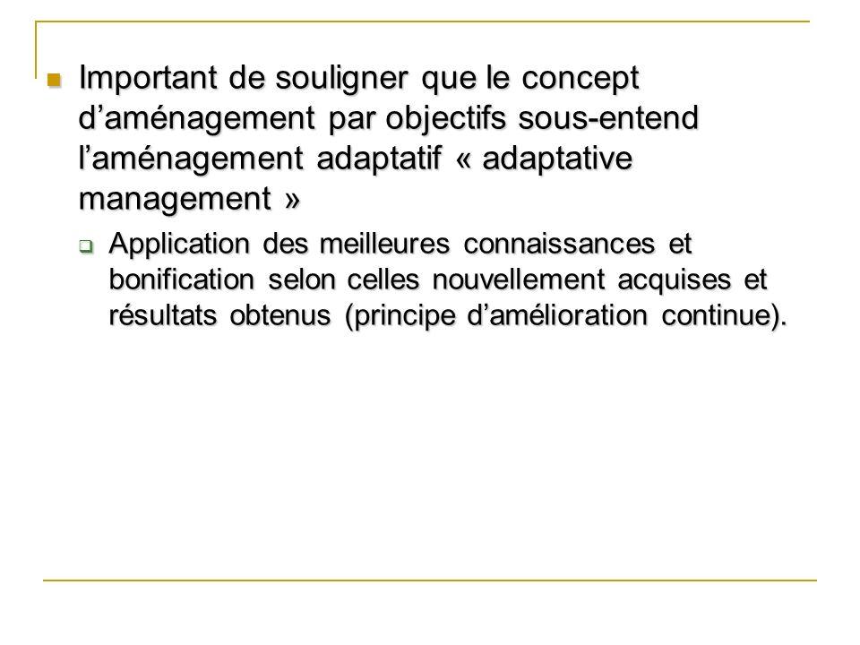 Important de souligner que le concept daménagement par objectifs sous-entend laménagement adaptatif « adaptative management » Important de souligner q