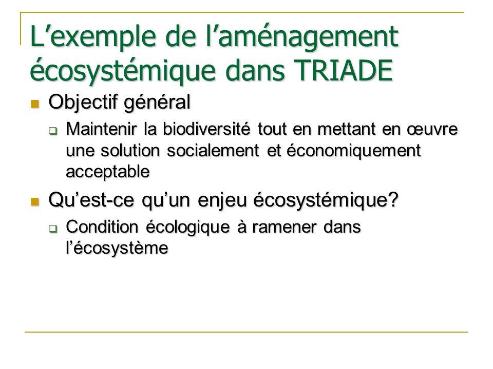 Lexemple de laménagement écosystémique dans TRIADE Objectif général Objectif général Maintenir la biodiversité tout en mettant en œuvre une solution s