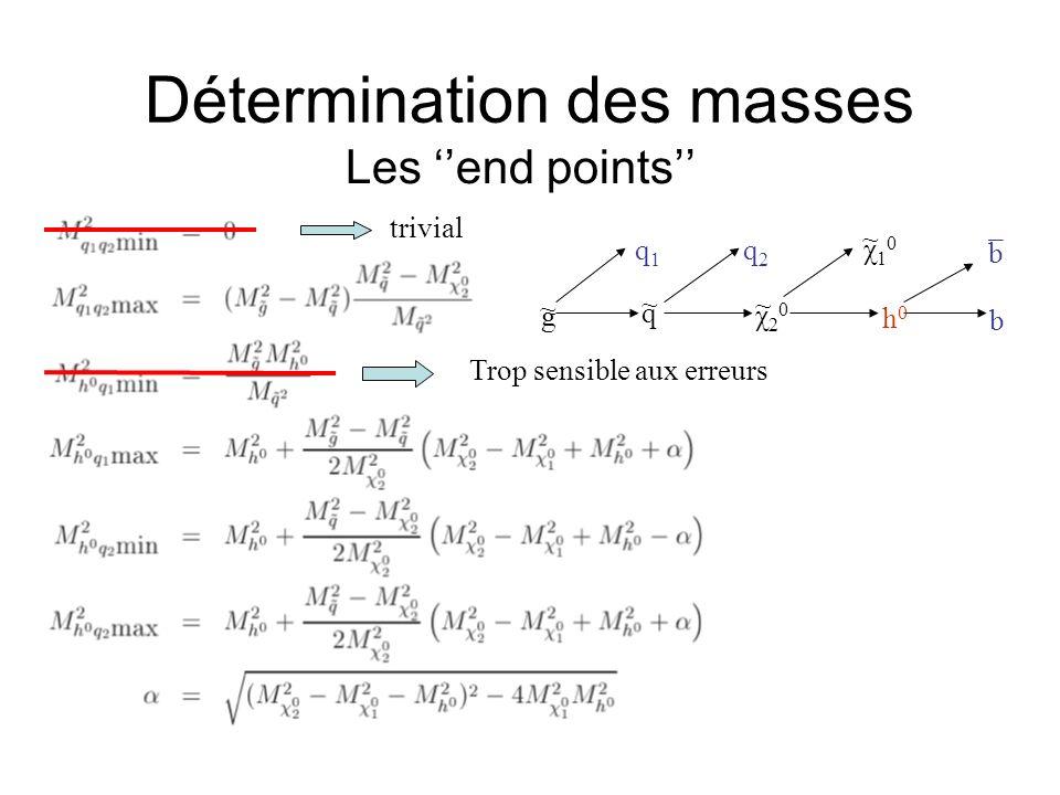 Détermination des masses Les end points trivial Trop sensible aux erreurs g q χ20χ20 χ10χ10 h0h0 b b q1q1 q2q2 ~ ~ ¯ ~ ~