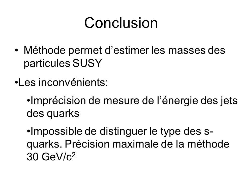 Conclusion Méthode permet destimer les masses des particules SUSY Les inconvénients: Imprécision de mesure de lénergie des jets des quarks Impossible de distinguer le type des s- quarks.