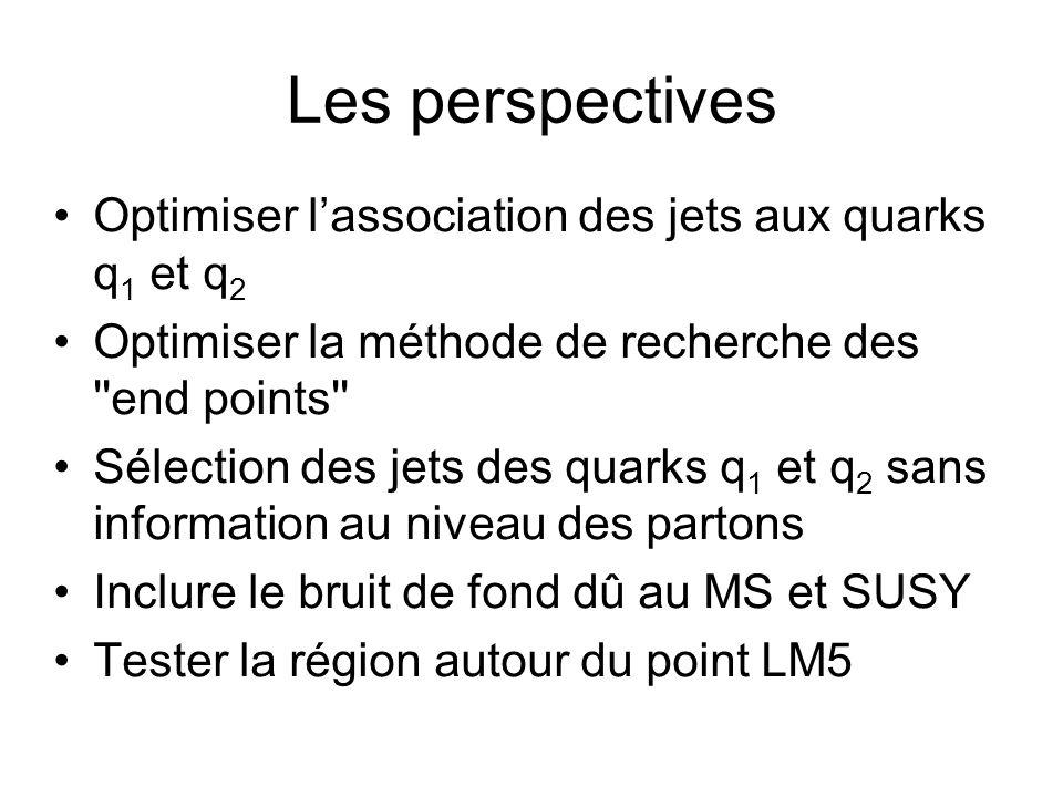 Les perspectives Optimiser lassociation des jets aux quarks q 1 et q 2 Optimiser la méthode de recherche des end points Sélection des jets des quarks q 1 et q 2 sans information au niveau des partons Inclure le bruit de fond dû au MS et SUSY Tester la région autour du point LM5