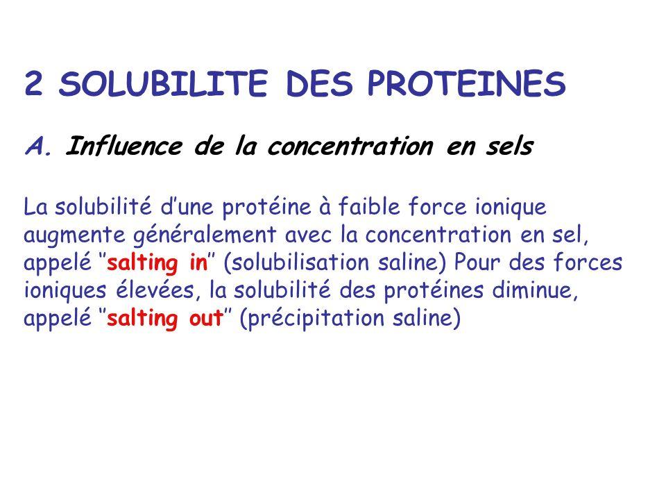 2 SOLUBILITE DES PROTEINES A. Influence de la concentration en sels La solubilité dune protéine à faible force ionique augmente généralement avec la c