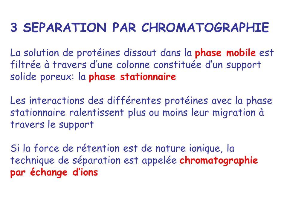 3 SEPARATION PAR CHROMATOGRAPHIE La solution de protéines dissout dans la phase mobile est filtrée à travers dune colonne constituée dun support solid