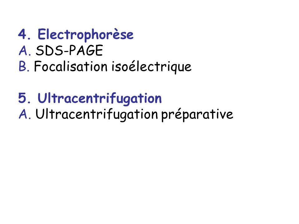 4. Electrophorèse A. SDS-PAGE B. Focalisation isoélectrique 5. Ultracentrifugation A. Ultracentrifugation préparative