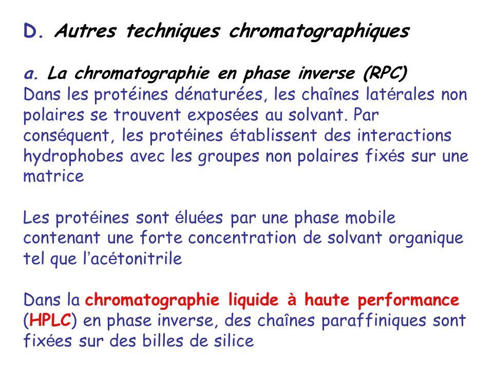 D. Autres techniques chromatographiques a. La chromatographie en phase inverse (RPC) Dans les protéines dénaturées, les cha î nes lat é rales non pola