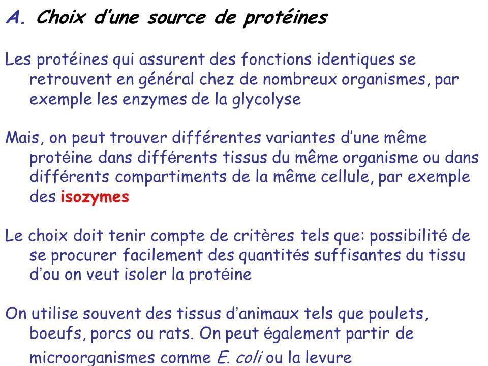 A. Choix dune source de protéines Les protéines qui assurent des fonctions identiques se retrouvent en général chez de nombreux organismes, par exempl