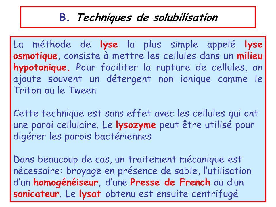 B. Techniques de solubilisation La méthode de lyse la plus simple appelé lyse osmotique, consiste à mettre les cellules dans un milieu hypotonique. Po