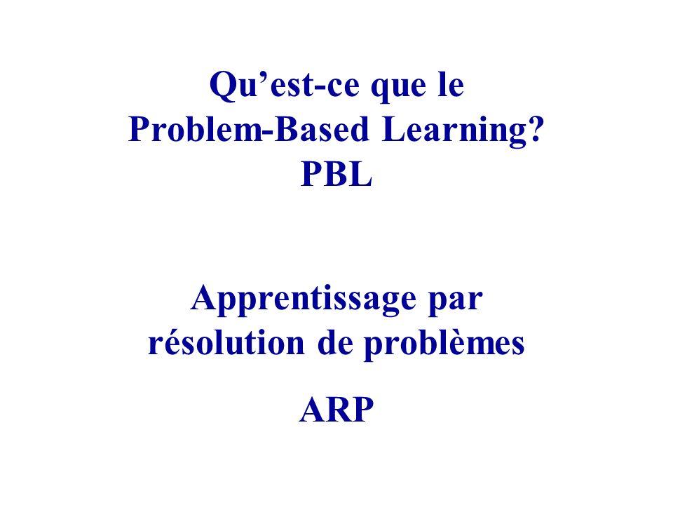 Quest-ce que le Problem-Based Learning? PBL Apprentissage par résolution de problèmes ARP