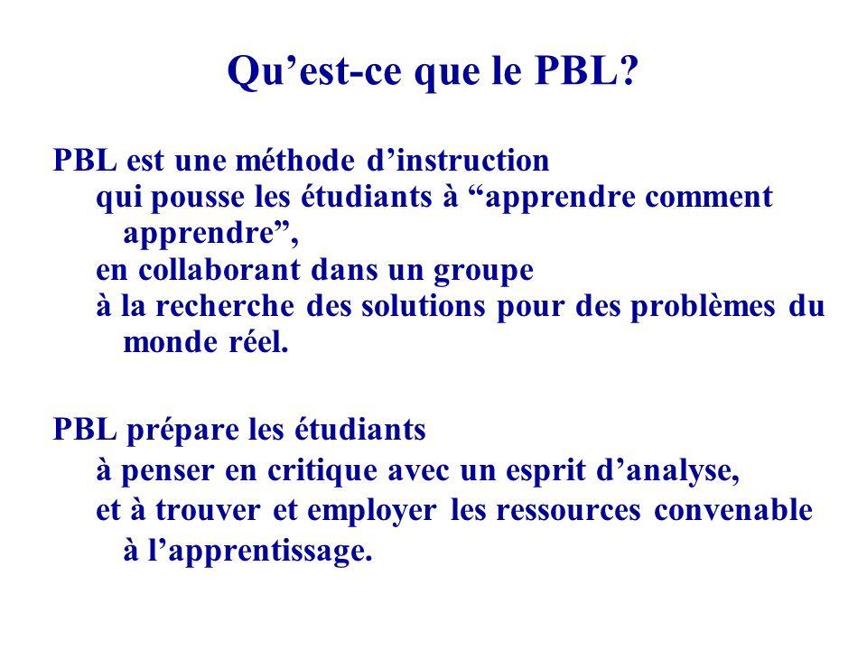 Quest-ce que le PBL? PBL est une méthode dinstruction qui pousse les étudiants à apprendre comment apprendre, en collaborant dans un groupe à la reche