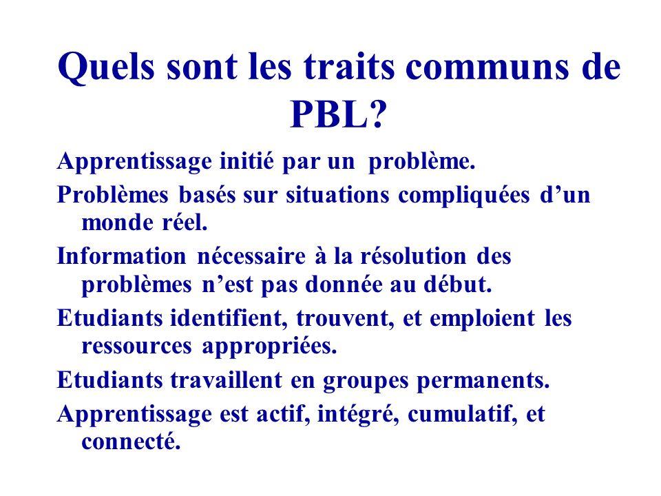 Quels sont les traits communs de PBL.Apprentissage initié par un problème.