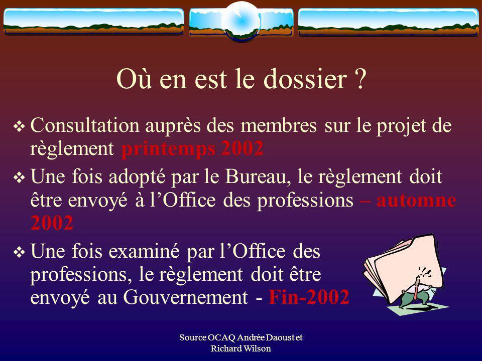 Source OCAQ Andrée Daoust et Richard Wilson Où en est le dossier .