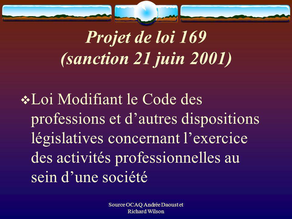 Source OCAQ Andrée Daoust et Richard Wilson Projet de loi 169 (sanction 21 juin 2001) Loi Modifiant le Code des professions et dautres dispositions législatives concernant lexercice des activités professionnelles au sein dune société