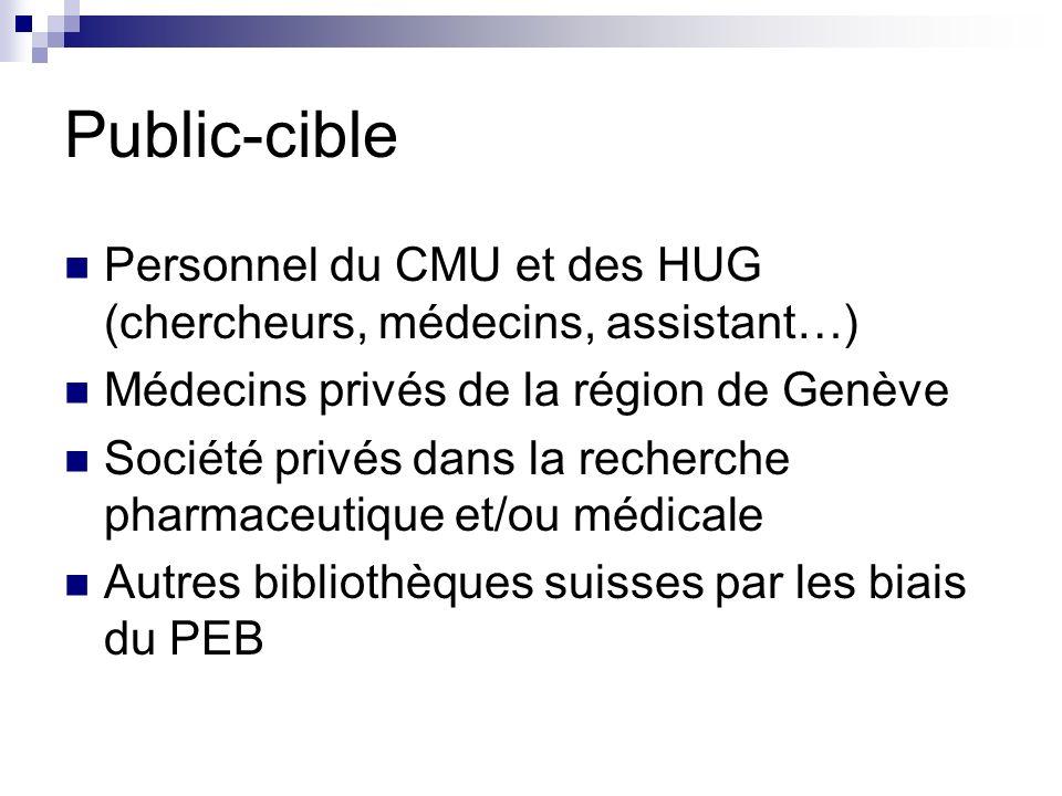 Public-cible Personnel du CMU et des HUG (chercheurs, médecins, assistant…) Médecins privés de la région de Genève Société privés dans la recherche ph