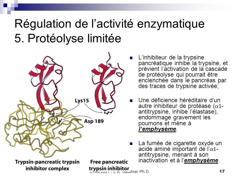 CHMI 2227 - E.R. Gauthier, Ph.D.17 Régulation de lactivité enzymatique 5. Protéolyse limitée Linhibiteur de la trypsine pancréatique inhibe la trypsin