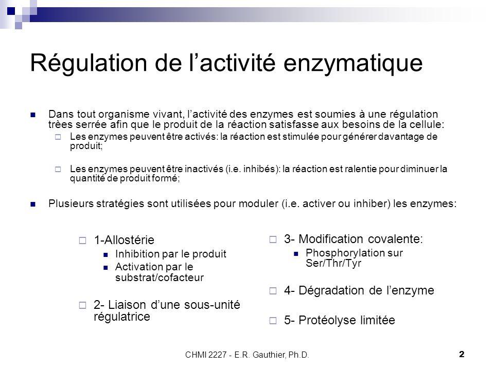 CHMI 2227 - E.R. Gauthier, Ph.D.2 Régulation de lactivité enzymatique Dans tout organisme vivant, lactivité des enzymes est soumies à une régulation t