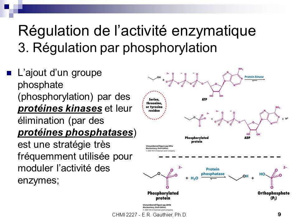 CHMI 2227 - E.R.Gauthier, Ph.D.10 Régulation de lactivité enzymatique 3.
