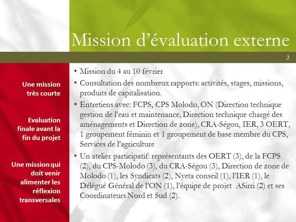 2 Mission dévaluation externe Mission du 4 au 10 février Consultation des nombreux rapports: activités, stages, missions, produits de capitalisation.