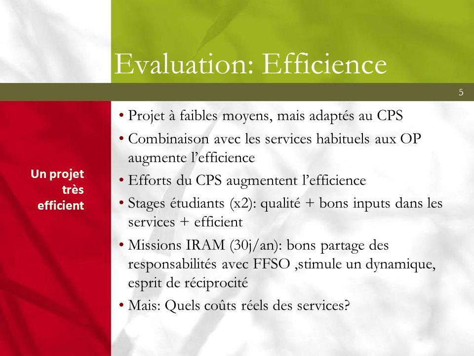 5 Evaluation: Efficience Projet à faibles moyens, mais adaptés au CPS Combinaison avec les services habituels aux OP augmente lefficience Efforts du C