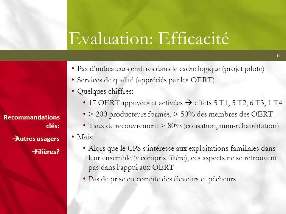 6 Evaluation: Efficacité Pas dindicateurs chiffrés dans le cadre logique (projet pilote) Services de qualité (appréciés par les OERT) Quelques chiffre