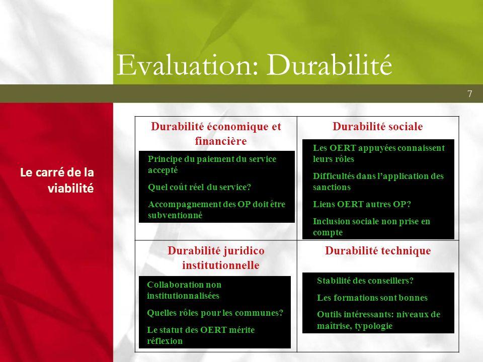 7 Evaluation: Durabilité Le carré de la viabilité Durabilité économique et financière Autonomie de fonctionnement et de ressources Durabilité sociale