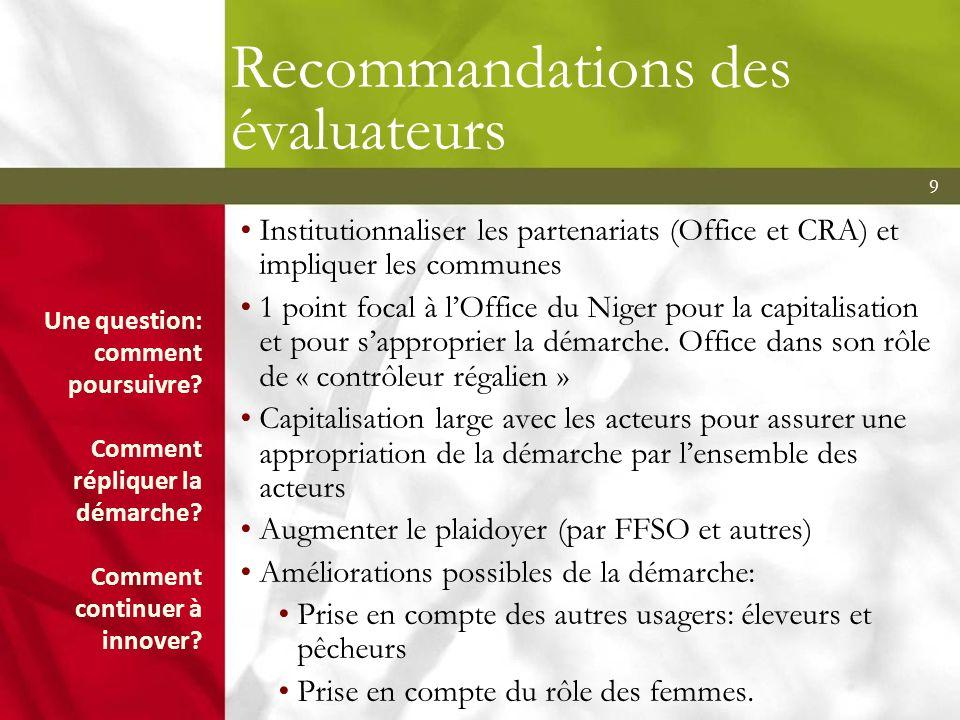 9 Recommandations des évaluateurs Institutionnaliser les partenariats (Office et CRA) et impliquer les communes 1 point focal à lOffice du Niger pour