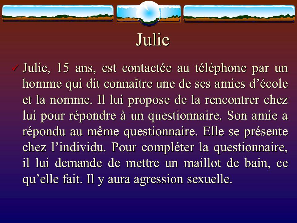 Julie Julie, 15 ans, est contactée au téléphone par un homme qui dit connaître une de ses amies décole et la nomme. Il lui propose de la rencontrer ch