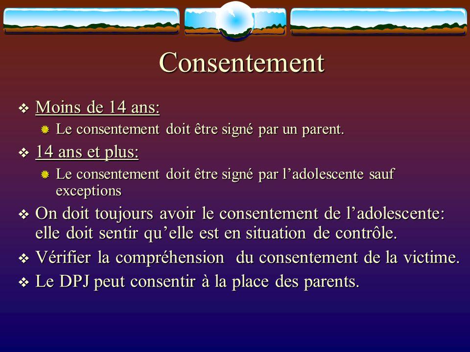Consentement Moins de 14 ans: Moins de 14 ans: Le consentement doit être signé par un parent. 14 ans et plus: 14 ans et plus: Le consentement doit êtr