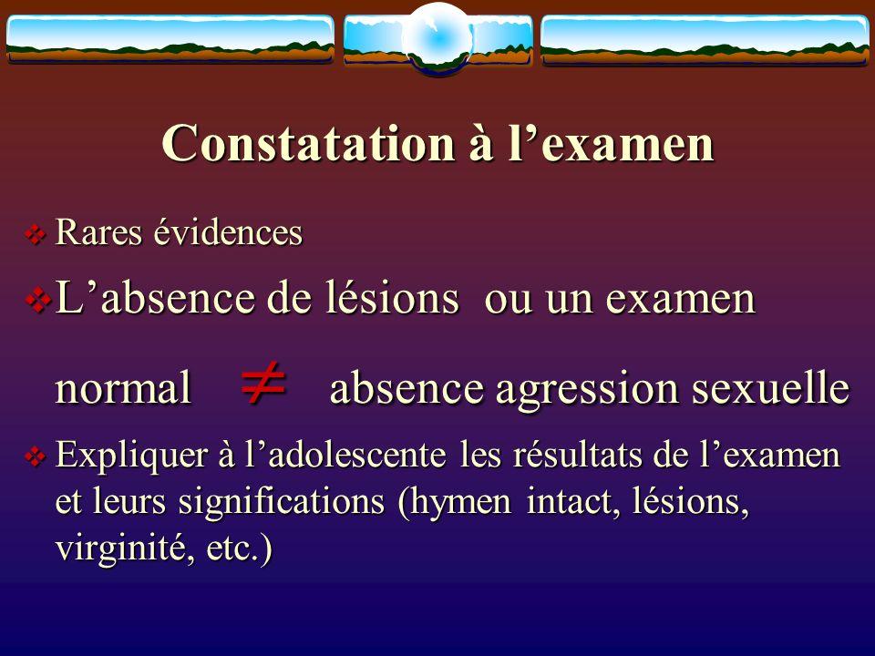 Constatation à lexamen Rares évidences Rares évidences Labsence de lésions ou un examen normal absence agression sexuelle Labsence de lésions ou un ex