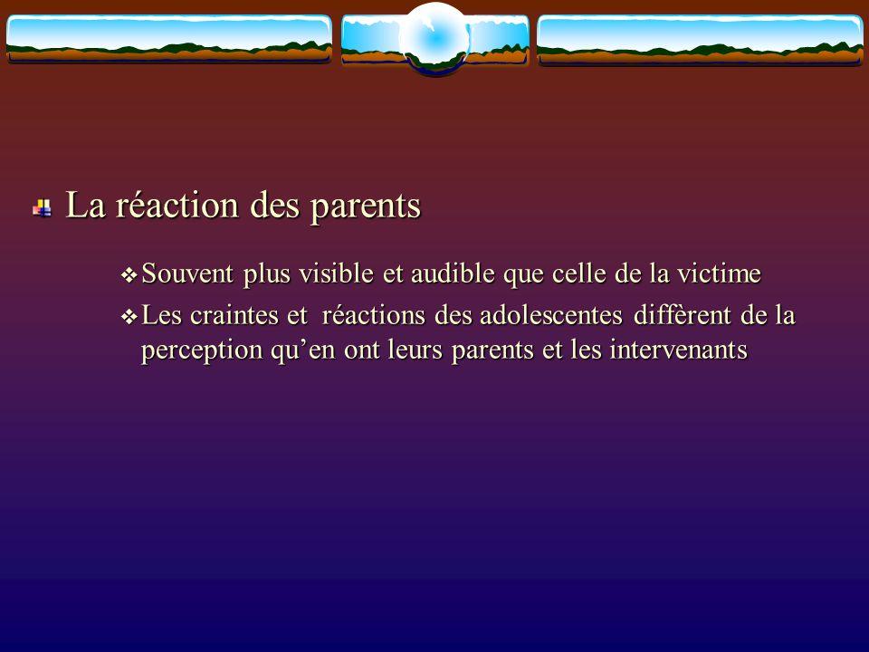 La réaction des parents Souvent plus visible et audible que celle de la victime Souvent plus visible et audible que celle de la victime Les craintes e