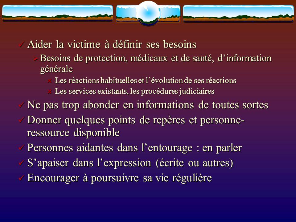 Aider la victime à définir ses besoins Aider la victime à définir ses besoins Besoins de protection, médicaux et de santé, dinformation générale Besoi