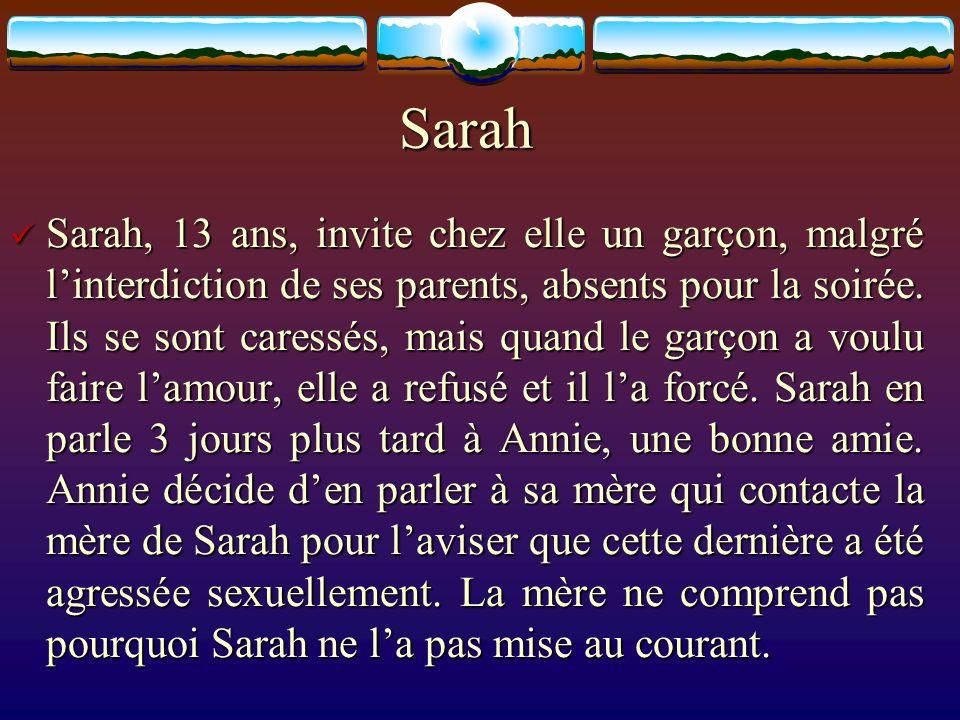 Sarah Sarah, 13 ans, invite chez elle un garçon, malgré linterdiction de ses parents, absents pour la soirée. Ils se sont caressés, mais quand le garç