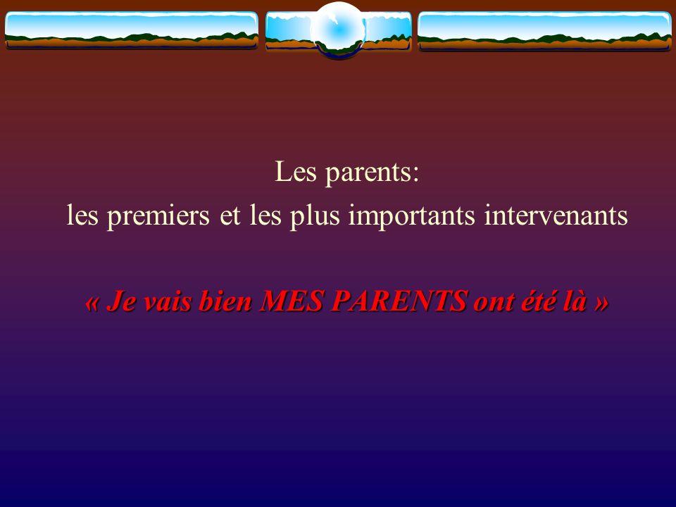 Les parents: les premiers et les plus importants intervenants « Je vais bien MES PARENTS ont été là »