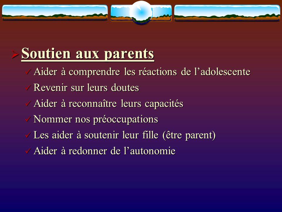Soutien aux parents Soutien aux parents Aider à comprendre les réactions de ladolescente Aider à comprendre les réactions de ladolescente Revenir sur