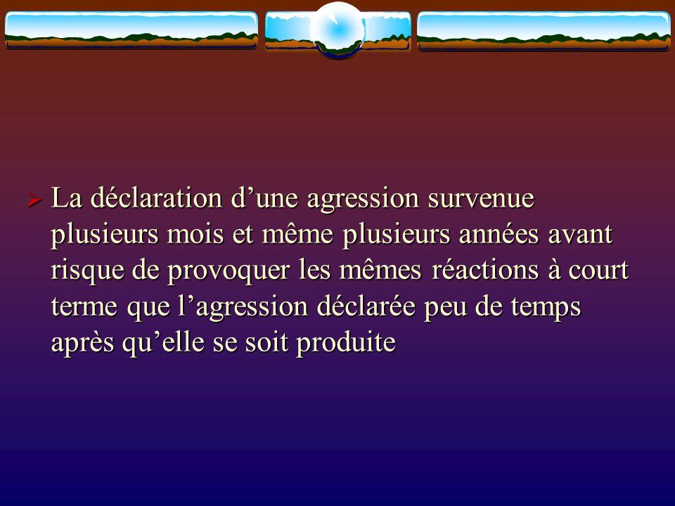 La déclaration dune agression survenue plusieurs mois et même plusieurs années avant risque de provoquer les mêmes réactions à court terme que lagress