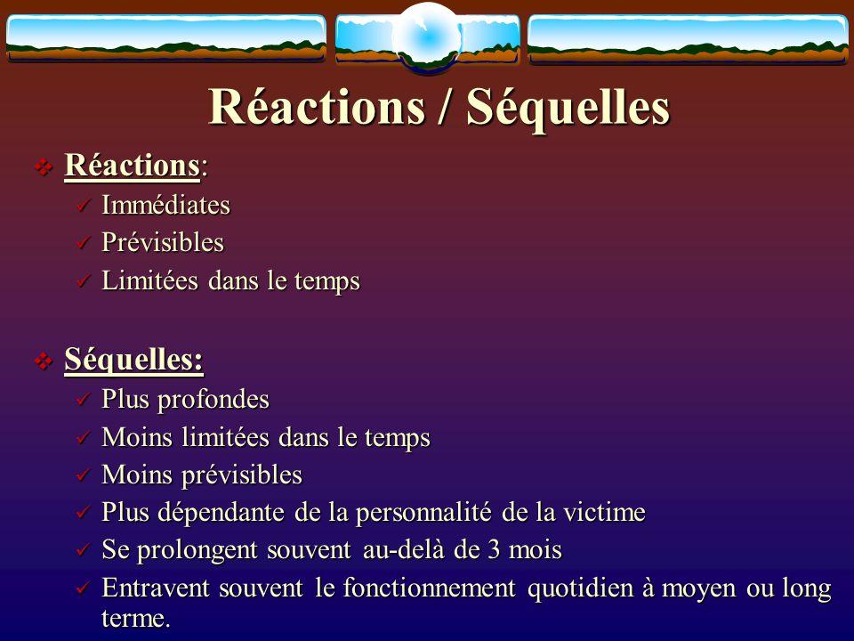 Réactions / Séquelles Réactions: Réactions: Immédiates Immédiates Prévisibles Prévisibles Limitées dans le temps Limitées dans le temps Séquelles: Séq