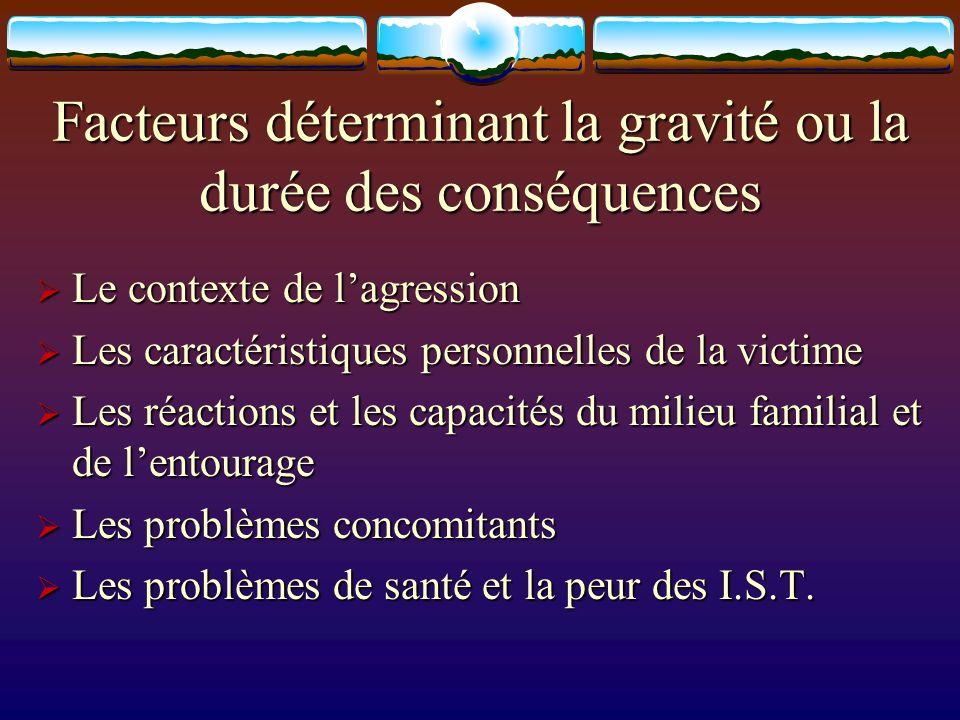 Facteurs déterminant la gravité ou la durée des conséquences Le contexte de lagression Le contexte de lagression Les caractéristiques personnelles de