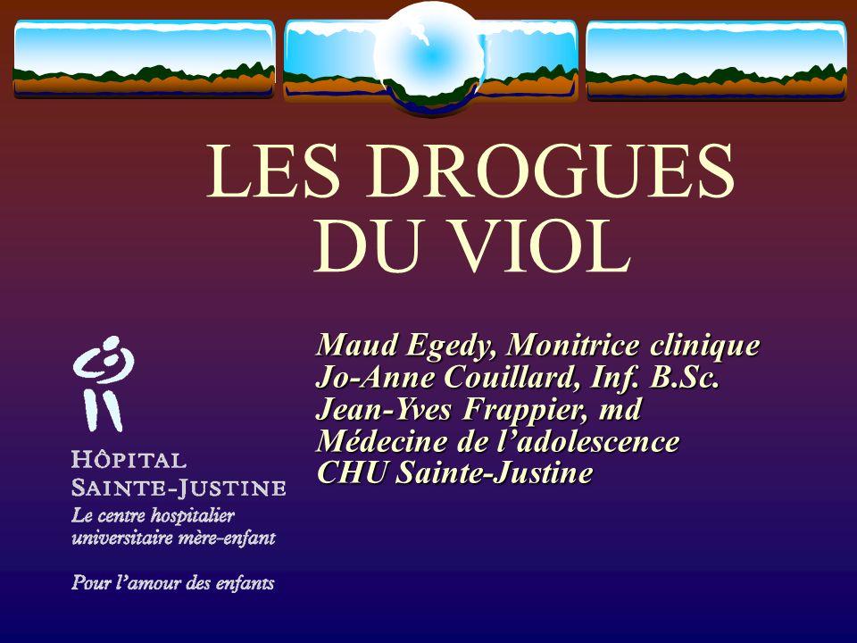 LES DROGUES DU VIOL Maud Egedy, Monitrice clinique Jo-Anne Couillard, Inf. B.Sc. Jean-Yves Frappier, md Médecine de ladolescence CHU Sainte-Justine